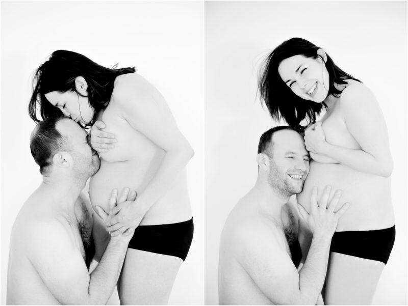 zakochany mężczyzna i radosna kobieta w ciąży oczekują dziecka